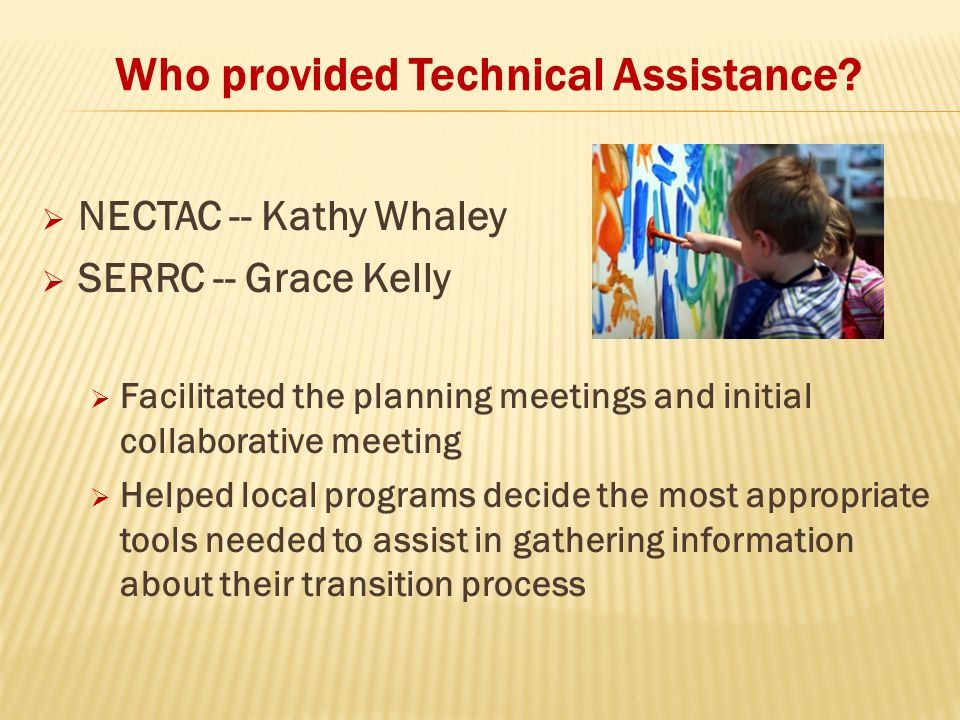 Who provided Technical Assistance?  NECTAC -- Kathy Whaley  SERRC -- Grace Kelly  Facilitated the planning meetings and initial collaborative meeti
