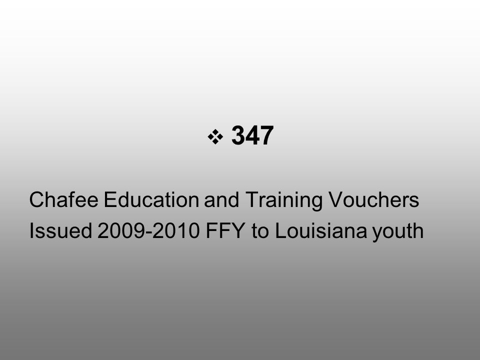  347 Chafee Education and Training Vouchers Issued 2009-2010 FFY to Louisiana youth