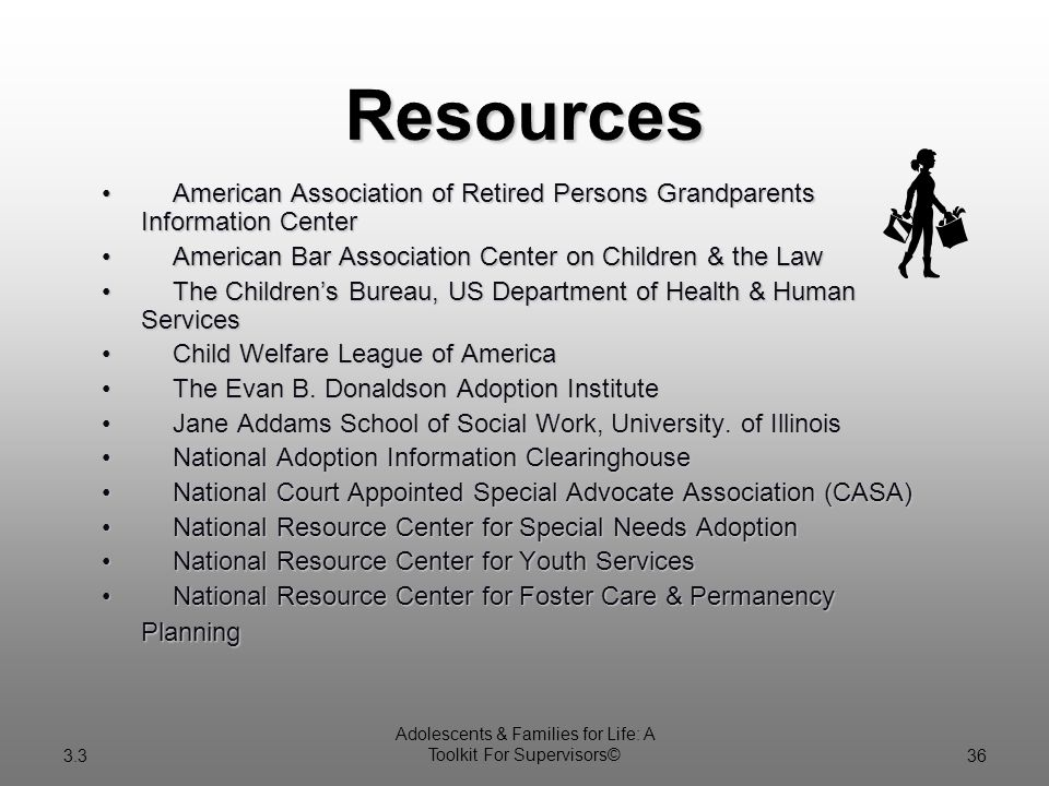 3.3 Adolescents & Families for Life: A Toolkit For Supervisors©36 American Association of Retired Persons Grandparents Information CenterAmerican Association of Retired Persons Grandparents Information Center American Bar Association Center on Children & the LawAmerican Bar Association Center on Children & the Law The Children's Bureau, US Department of Health & Human ServicesThe Children's Bureau, US Department of Health & Human Services Child Welfare League of AmericaChild Welfare League of America The Evan B.