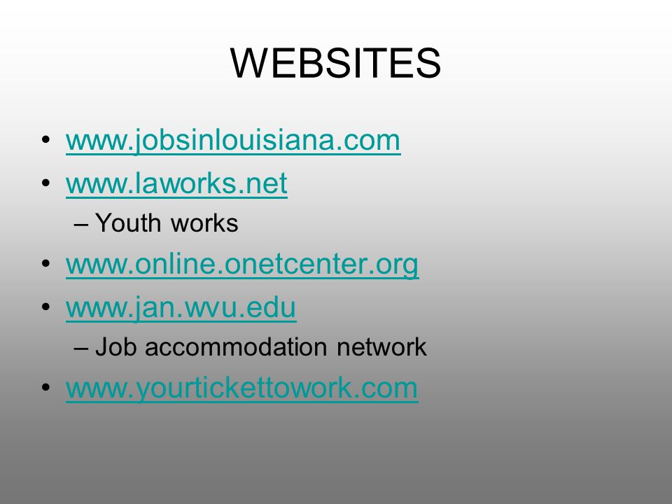 WEBSITES www.jobsinlouisiana.com www.laworks.net –Youth works www.online.onetcenter.org www.jan.wvu.edu –Job accommodation network www.yourtickettowork.com