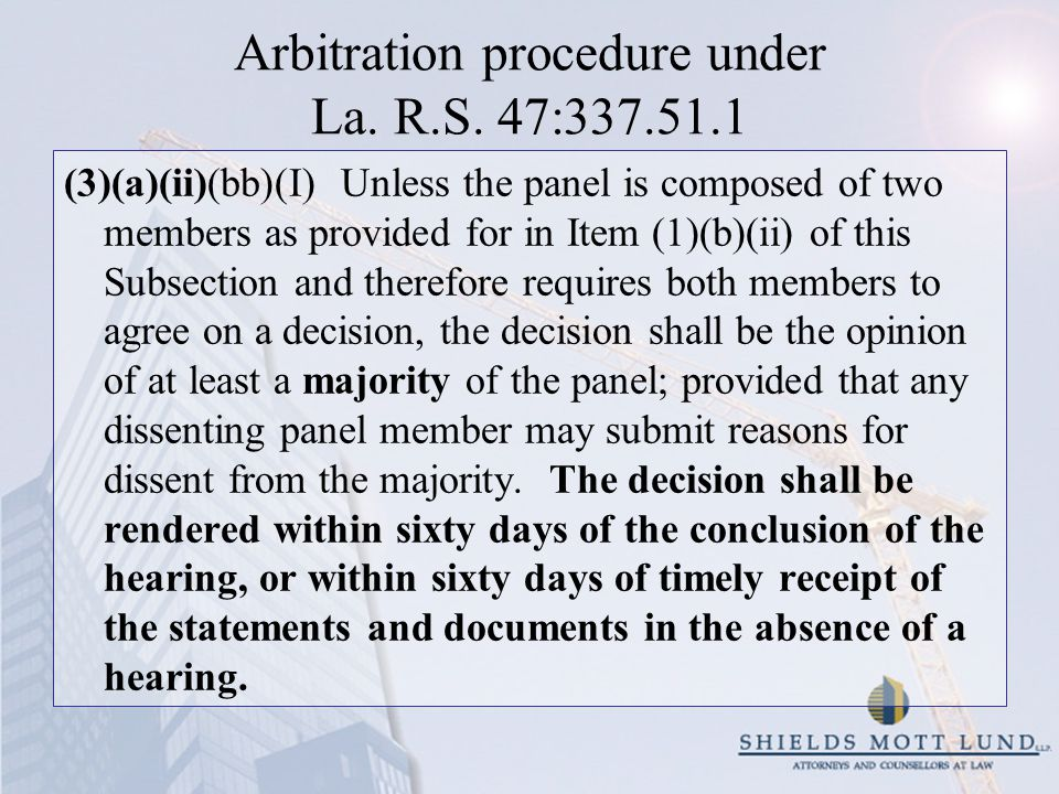Arbitration procedure under La. R.S.