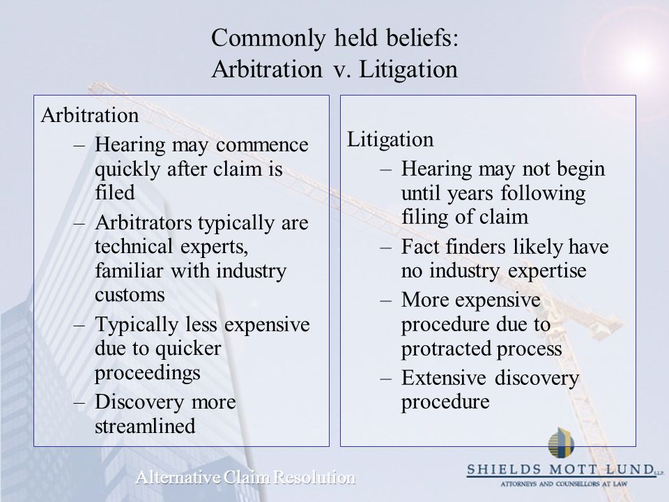 Commonly held beliefs: Arbitration v.