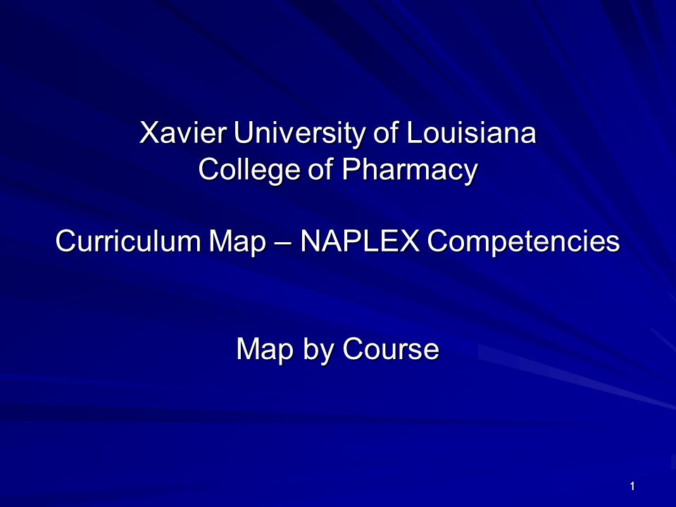 1 Xavier University of Louisiana College of Pharmacy Curriculum Map – NAPLEX Competencies Map by Course