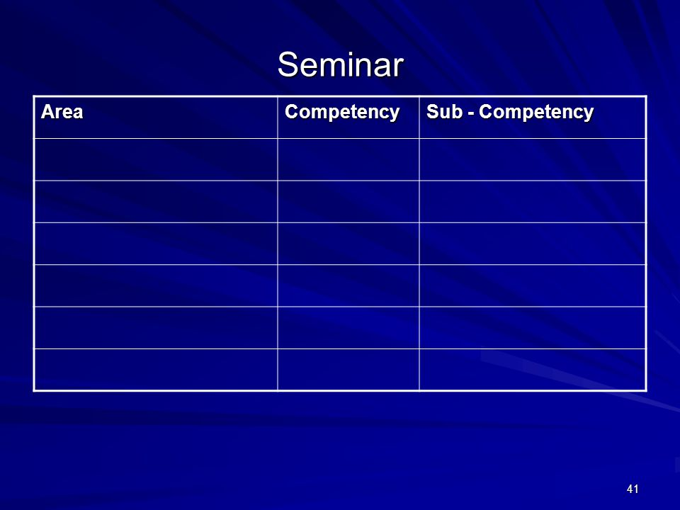 41 Seminar AreaCompetency Sub - Competency