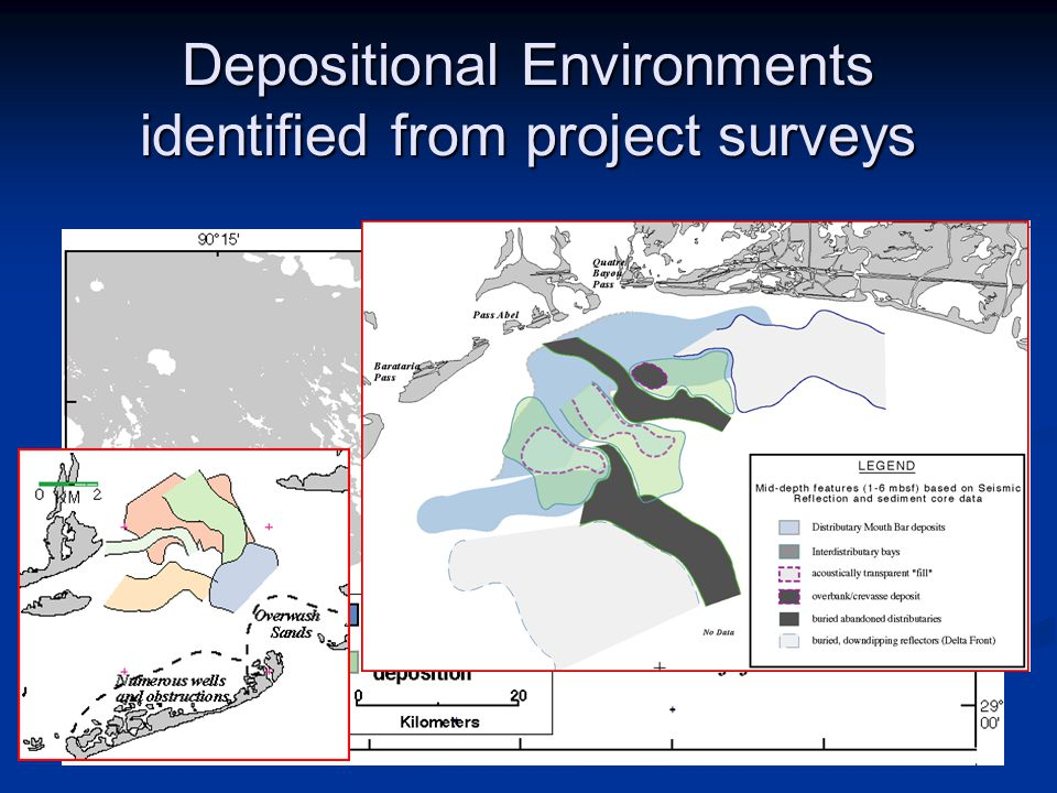 Depositional Environments identified from project surveys