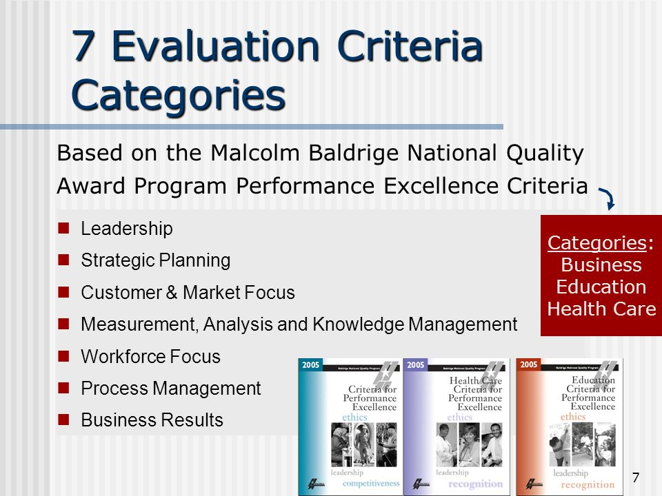 7 7 Evaluation Criteria Categories Based on the Malcolm Baldrige National Quality Award Program Performance Excellence Criteria Leadership Strategic Planning Customer & Market Focus Measurement, Analysis and Knowledge Management Workforce Focus Process Management Business Results Categories: Business Education Health Care