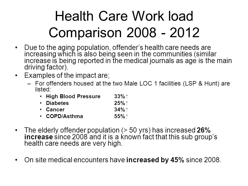 Health Care Work load Comparison 2008 - 2012 Due to the aging population, offender's health care needs are increasing which is also being seen in the communities (similar increase is being reported in the medical journals as age is the main driving factor).