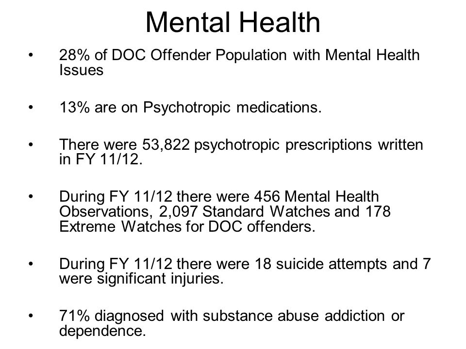 Mental Health 28% of DOC Offender Population with Mental Health Issues 13% are on Psychotropic medications. There were 53,822 psychotropic prescriptio