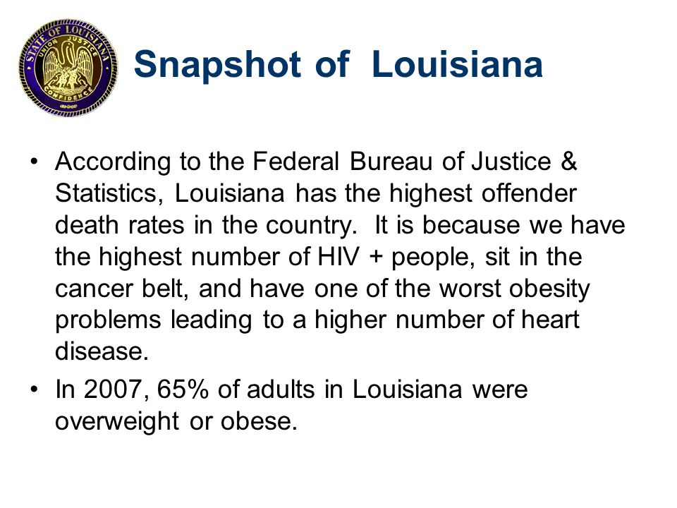 Snapshot of Louisiana Most Common Causes of Death Rate per 100,000 population Reference: CDC, Louisiana: Burden of Chronic Disease, 2008
