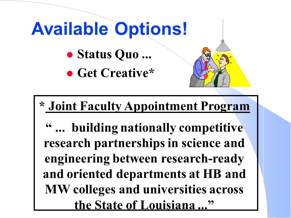 Available Options. Status Quo... Get Creative* * Joint Faculty Appointment Program ...
