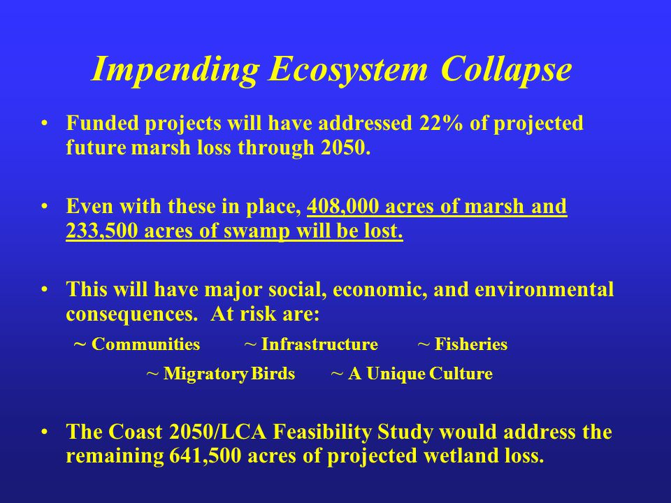 Impending Ecosystem Collapse Funded projects will have addressed 22% of projected future marsh loss through 2050. Even with these in place, 408,000 ac