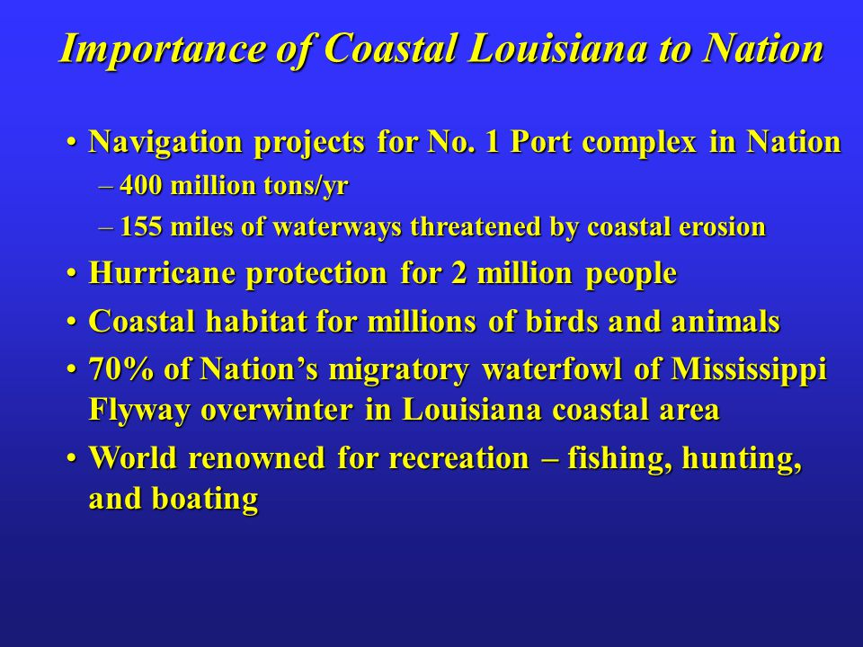 Importance of Coastal Louisiana to Nation Navigation projects for No. 1 Port complex in NationNavigation projects for No. 1 Port complex in Nation –40