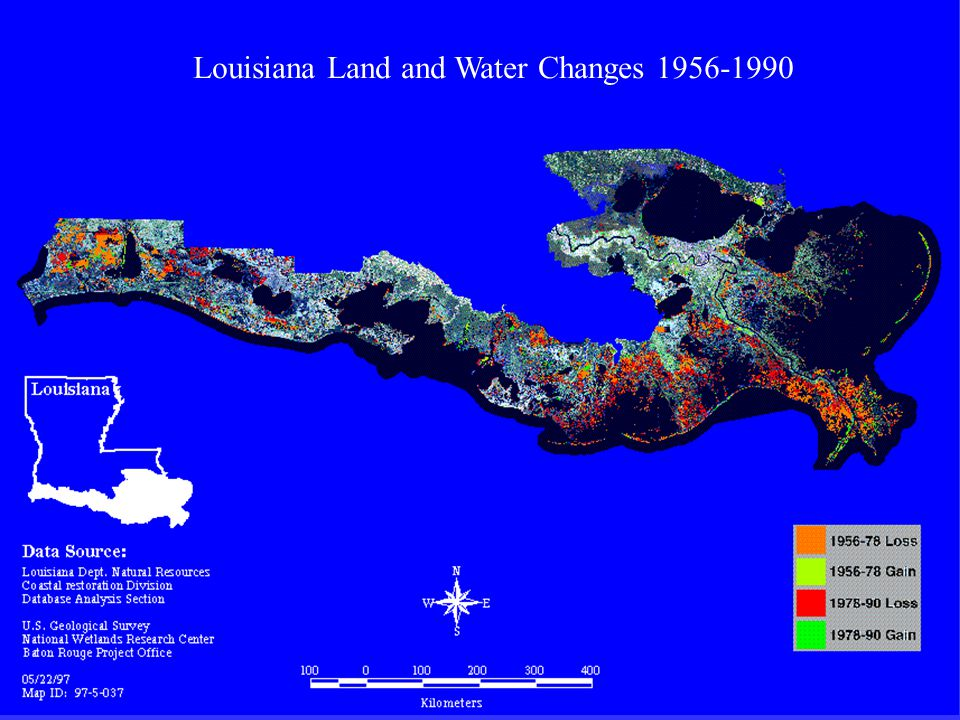 Louisiana Land and Water Changes 1956-1990