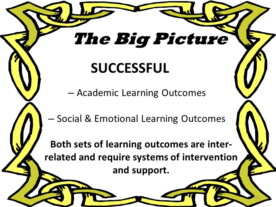 The Big Picture SUCCESSFUL – Academic Learning Outcomes – Social & Emotional Learning Outcomes Both sets of learning outcomes are inter- related and r