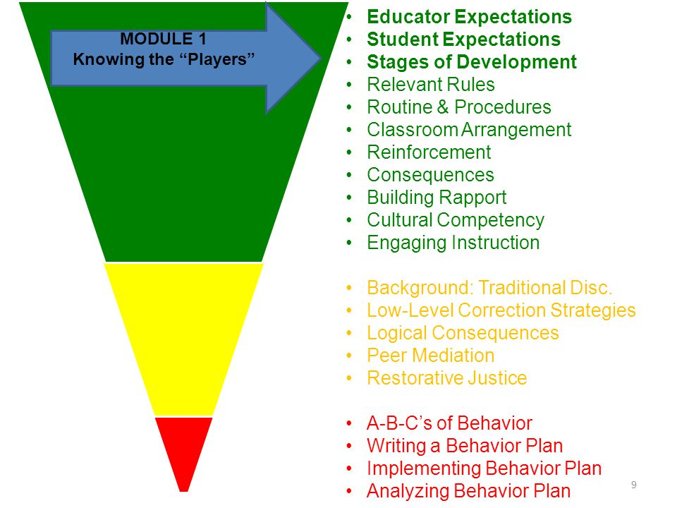 Educator Expectations Student Expectations Stages of Development Relevant Rules Routine & Procedures Classroom Arrangement Reinforcement Consequences