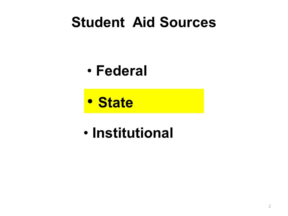 Student Aid Sources Federal 2 Institutional State
