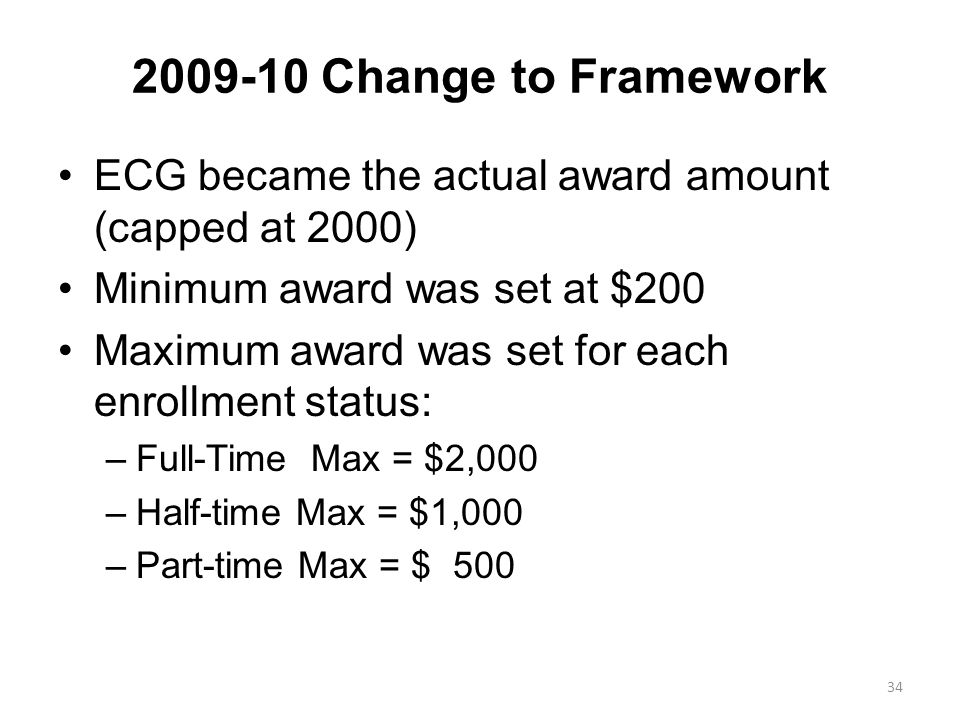 2009-10 Change to Framework ECG became the actual award amount (capped at 2000) Minimum award was set at $200 Maximum award was set for each enrollment status: –Full-Time Max = $2,000 –Half-time Max = $1,000 –Part-time Max = $ 500 34