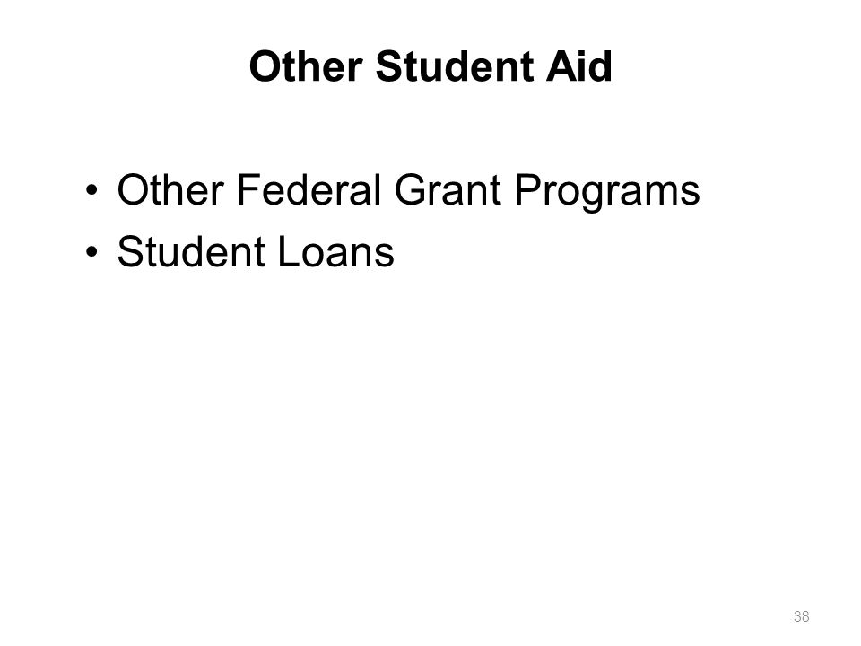 Other Student Aid Other Federal Grant Programs Student Loans 38