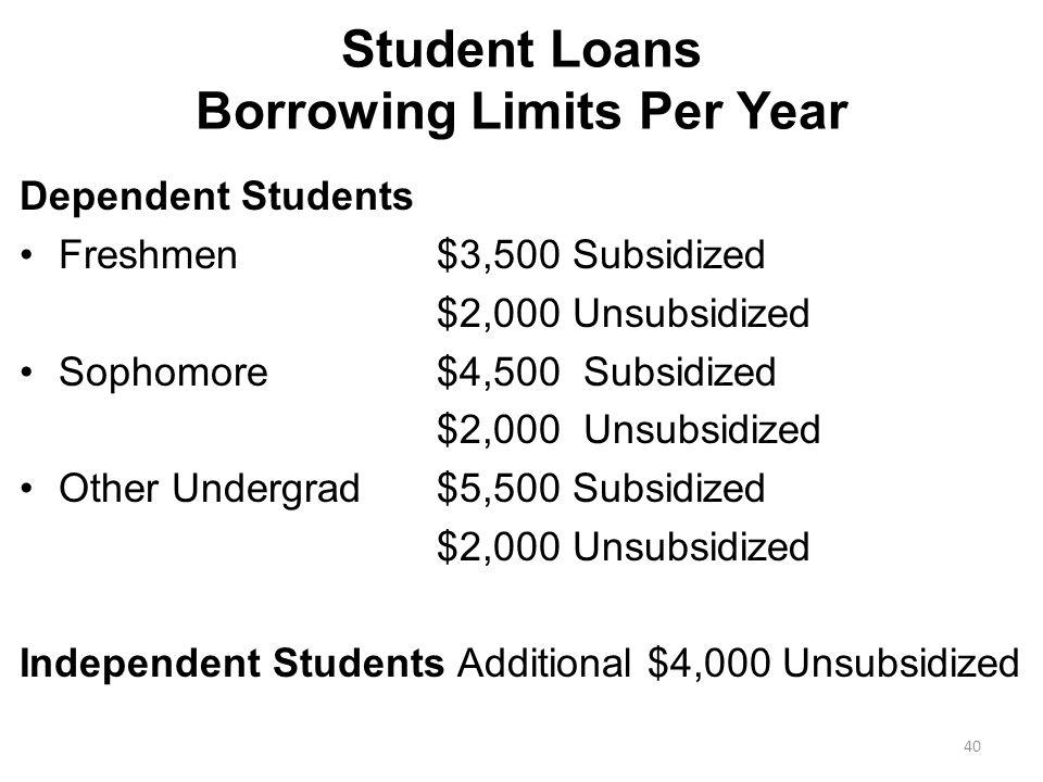 Student Loans Borrowing Limits Per Year Dependent Students Freshmen$3,500 Subsidized $2,000 Unsubsidized Sophomore$4,500 Subsidized $2,000 Unsubsidized Other Undergrad$5,500 Subsidized $2,000 Unsubsidized Independent Students Additional $4,000 Unsubsidized 40