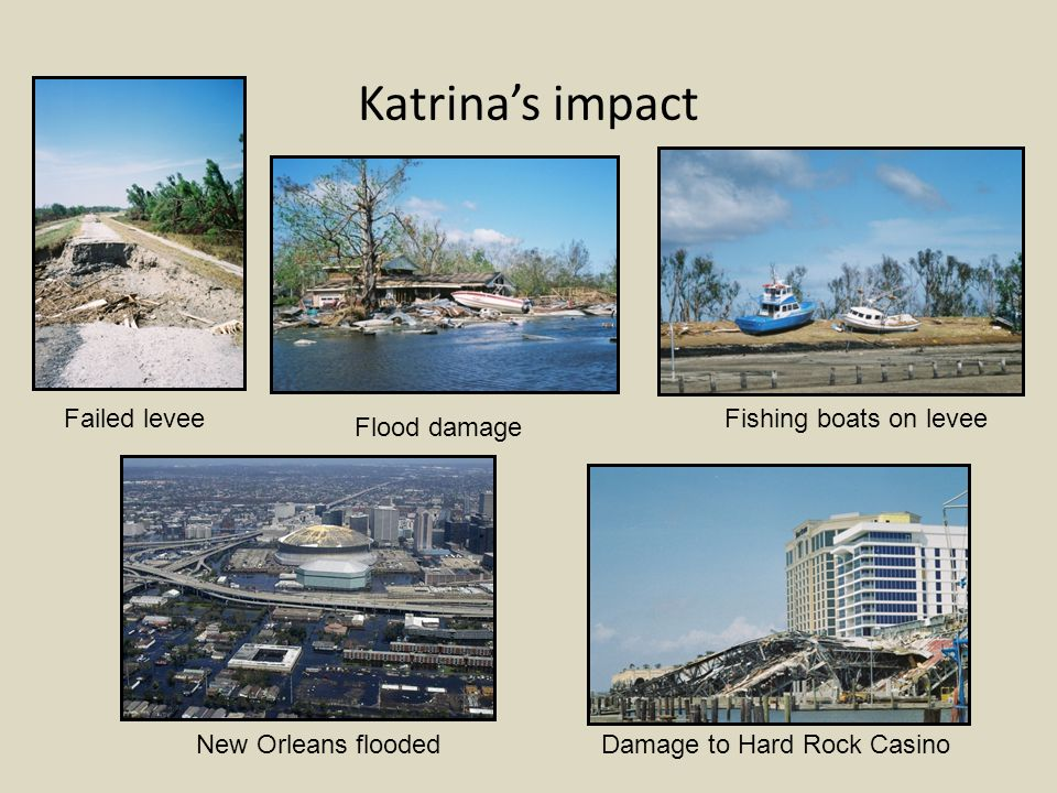 Katrina's impact New Orleans flooded Failed levee Damage to Hard Rock Casino Fishing boats on levee Flood damage