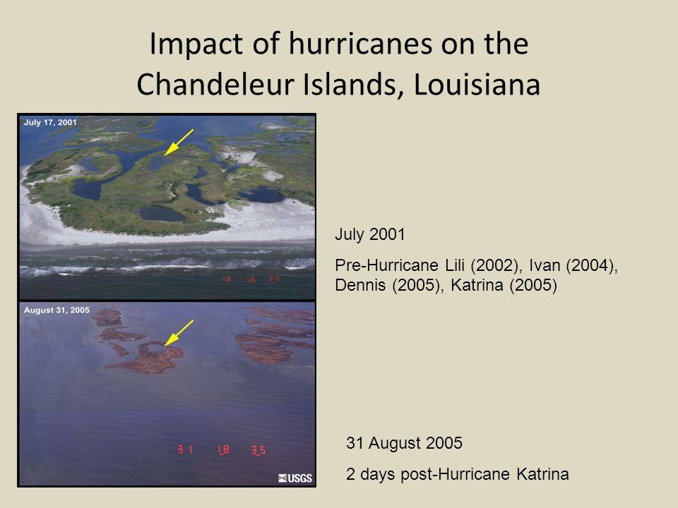 Impact of hurricanes on the Chandeleur Islands, Louisiana July 2001 Pre-Hurricane Lili (2002), Ivan (2004), Dennis (2005), Katrina (2005) 31 August 2005 2 days post-Hurricane Katrina
