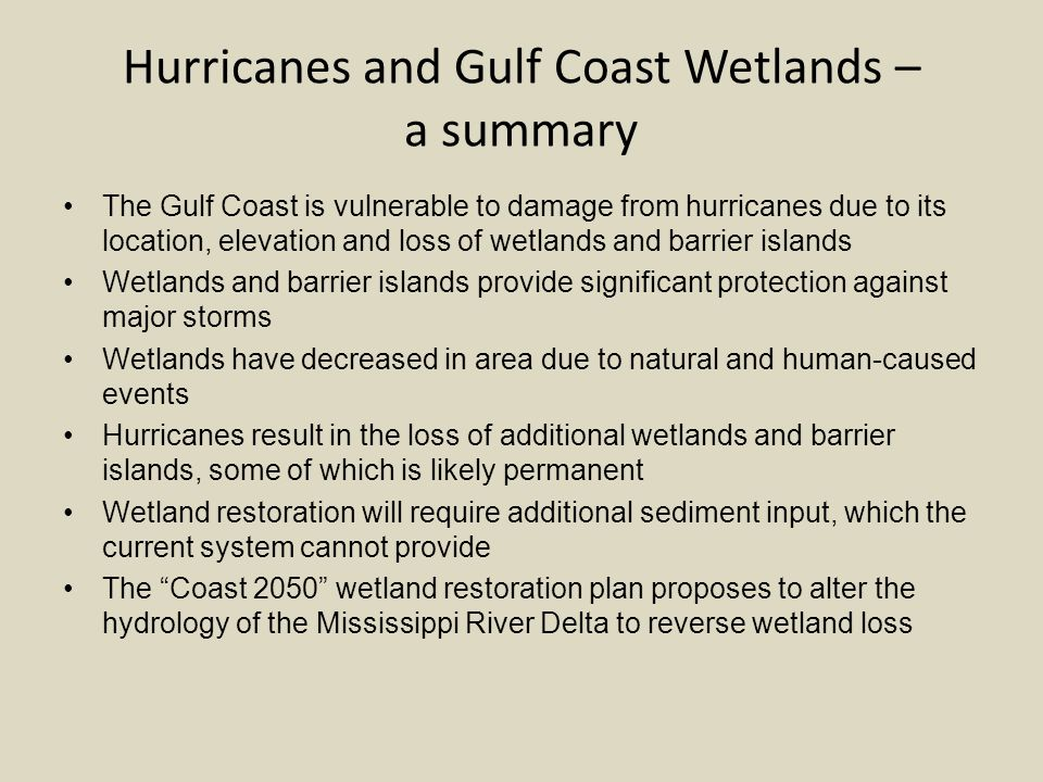 Hurricanes and Gulf Coast Wetlands – a summary The Gulf Coast is vulnerable to damage from hurricanes due to its location, elevation and loss of wetlands and barrier islands Wetlands and barrier islands provide significant protection against major storms Wetlands have decreased in area due to natural and human-caused events Hurricanes result in the loss of additional wetlands and barrier islands, some of which is likely permanent Wetland restoration will require additional sediment input, which the current system cannot provide The Coast 2050 wetland restoration plan proposes to alter the hydrology of the Mississippi River Delta to reverse wetland loss
