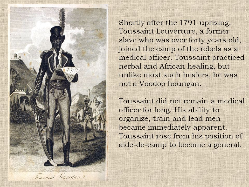 Shortly after the 1791 uprising, Toussaint Louverture, a former slave who was over forty years old, joined the camp of the rebels as a medical officer