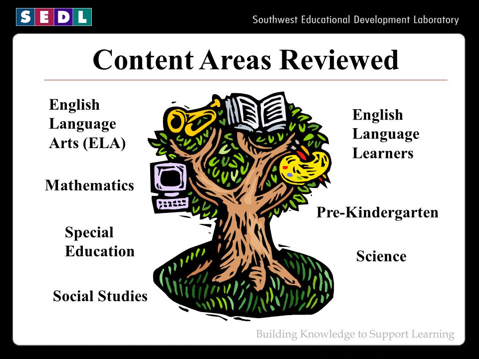 Content Areas Reviewed English Language Arts (ELA) Mathematics Special Education English Language Learners Social Studies Pre-Kindergarten Science