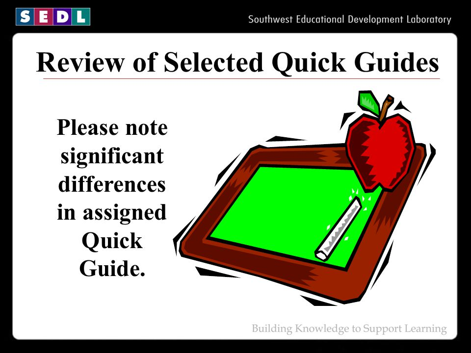 Review of Selected Quick Guides Please note significant differences in assigned Quick Guide.