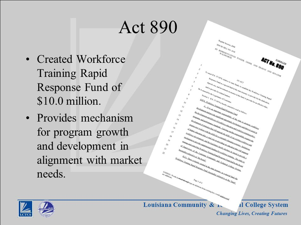 Louisiana Community & Technical College System Changing Lives, Creating Futures Act 890 Created Workforce Training Rapid Response Fund of $10.0 million.