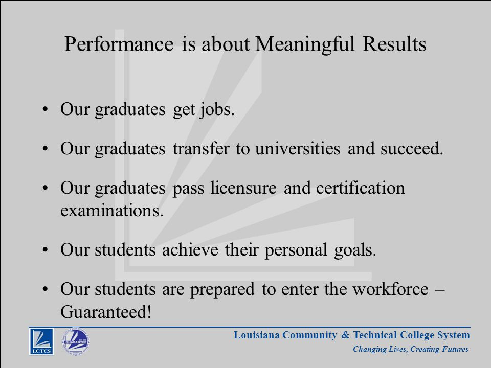 Louisiana Community & Technical College System Changing Lives, Creating Futures Performance is about Meaningful Results Our graduates get jobs.
