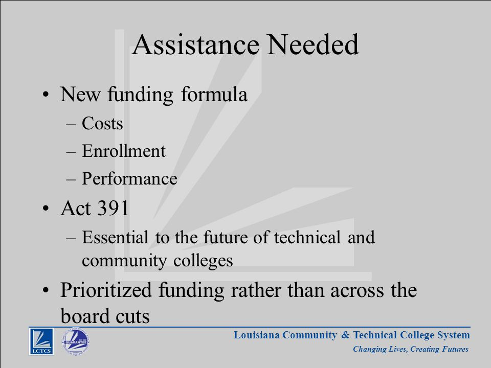 Louisiana Community & Technical College System Changing Lives, Creating Futures Assistance Needed New funding formula –Costs –Enrollment –Performance Act 391 –Essential to the future of technical and community colleges Prioritized funding rather than across the board cuts