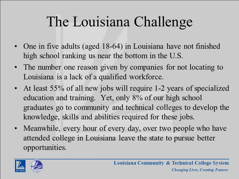 Louisiana Community & Technical College System Changing Lives, Creating Futures The Louisiana Challenge One in five adults (aged 18-64) in Louisiana have not finished high school ranking us near the bottom in the U.S.