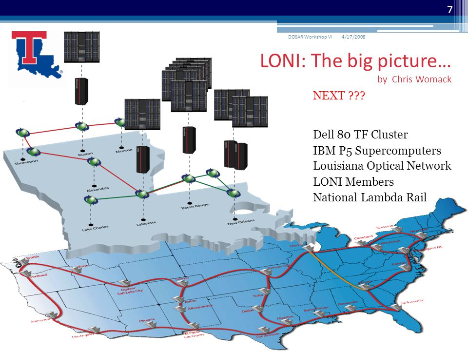 National Lambda Rail Louisiana Optical Network IBM P5 Supercomputers LONI Members Dell 80 TF Cluster NEXT ??? 4/17/2008DOSAR Workshop VI 7 LONI: The b