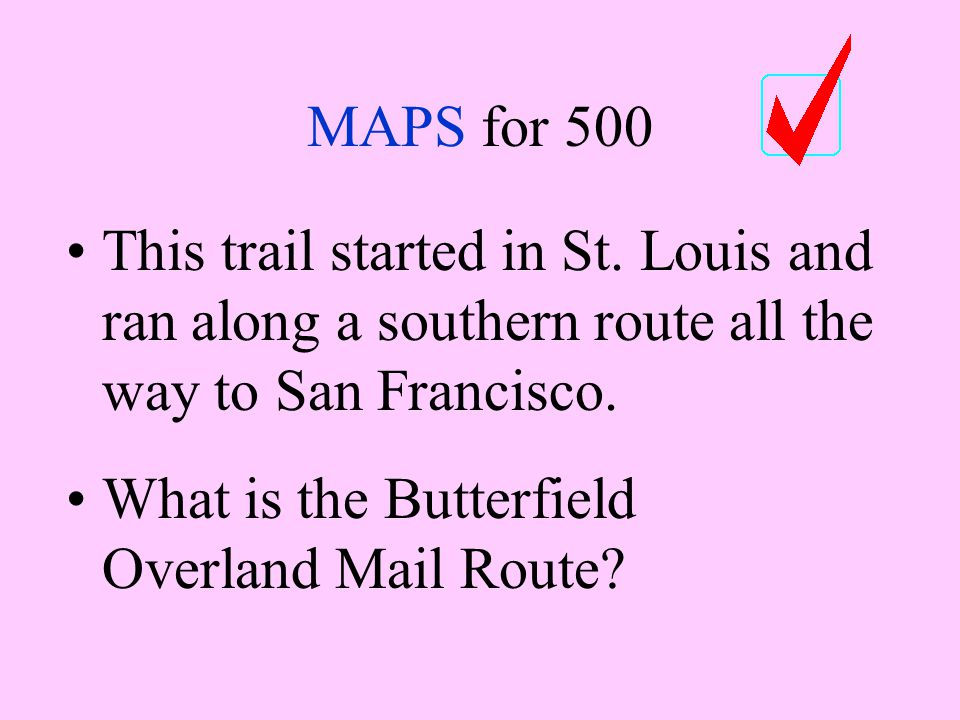 MAPS for 500 This trail started in St.