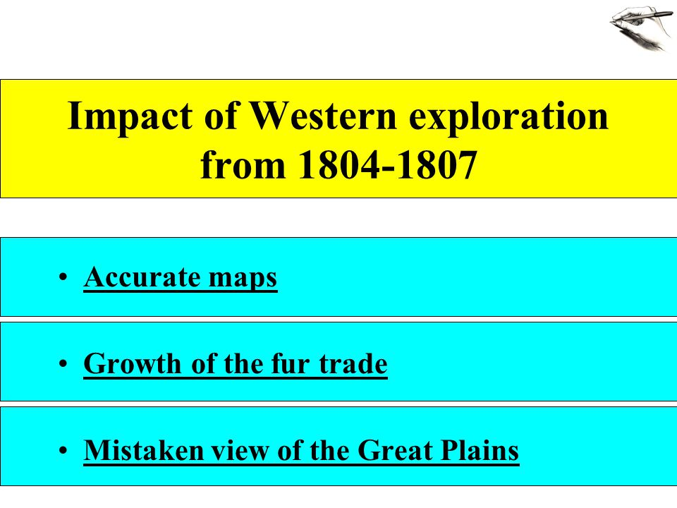 Impact of Western exploration from 1804-1807 Accurate maps Growth of the fur trade Mistaken view of the Great Plains