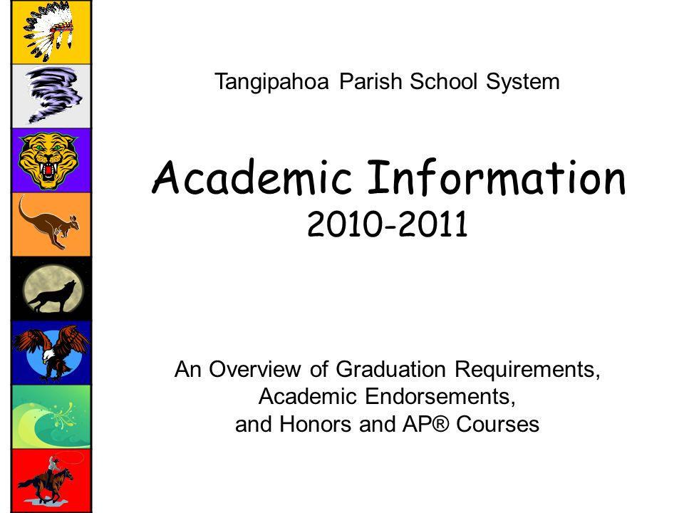 Tangipahoa Parish School System Academic Information An Overview of Graduation Requirements, Academic Endorsements, and Honors and AP® Courses