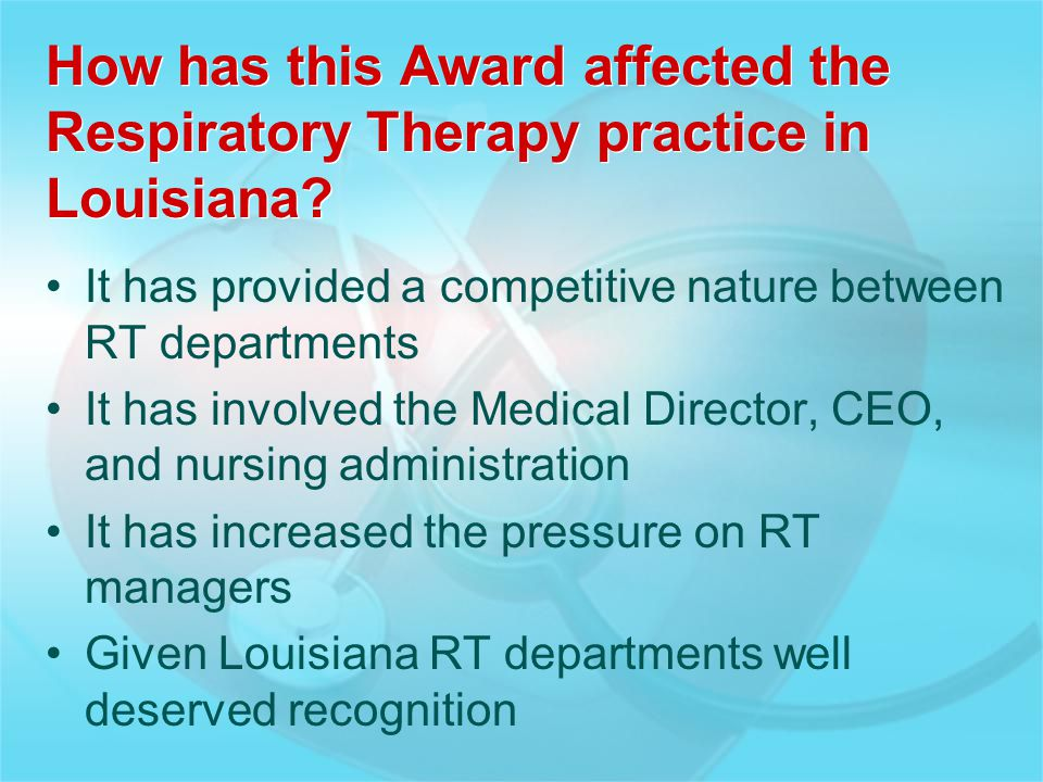 How has this Award affected the Respiratory Therapy practice in Louisiana? It has provided a competitive nature between RT departments It has involved