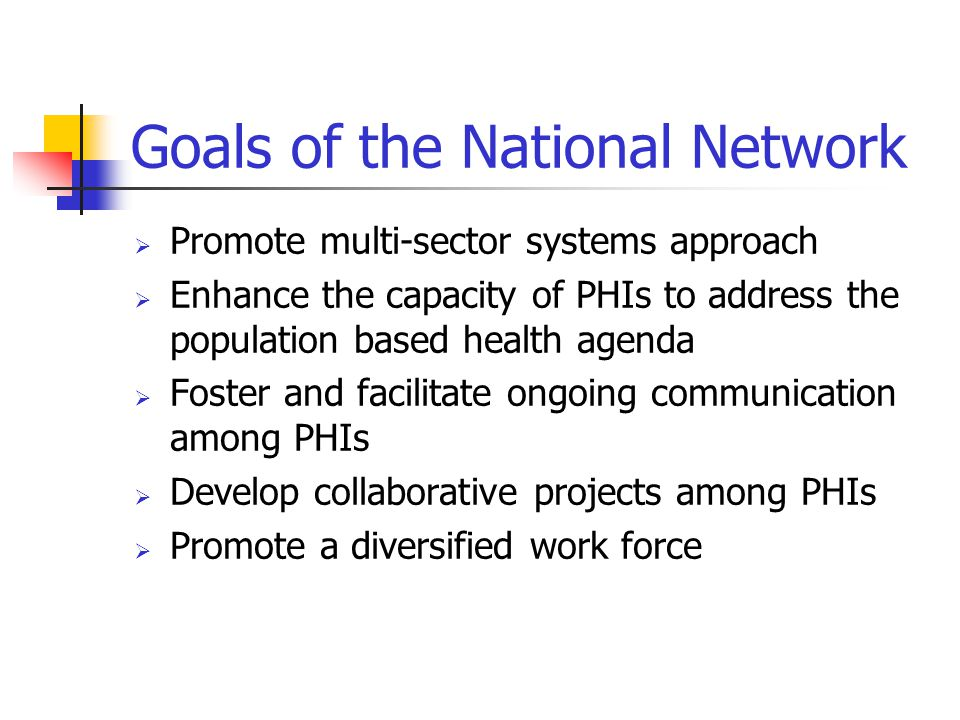 History of NNPHI  Michigan study in 1999  October 2000- RWJ/Turning Point meeting  December 2000- LPHI proposal to explore the feasibility of establishing the network  February 2001- national planning meeting  April 19 th, 2001- Formal Establishment of the National Network  June 2001- NNPHI officially incorporated 501(c)3 non- profit  September 2001- NNPHI enters cooperative agreement with CDC