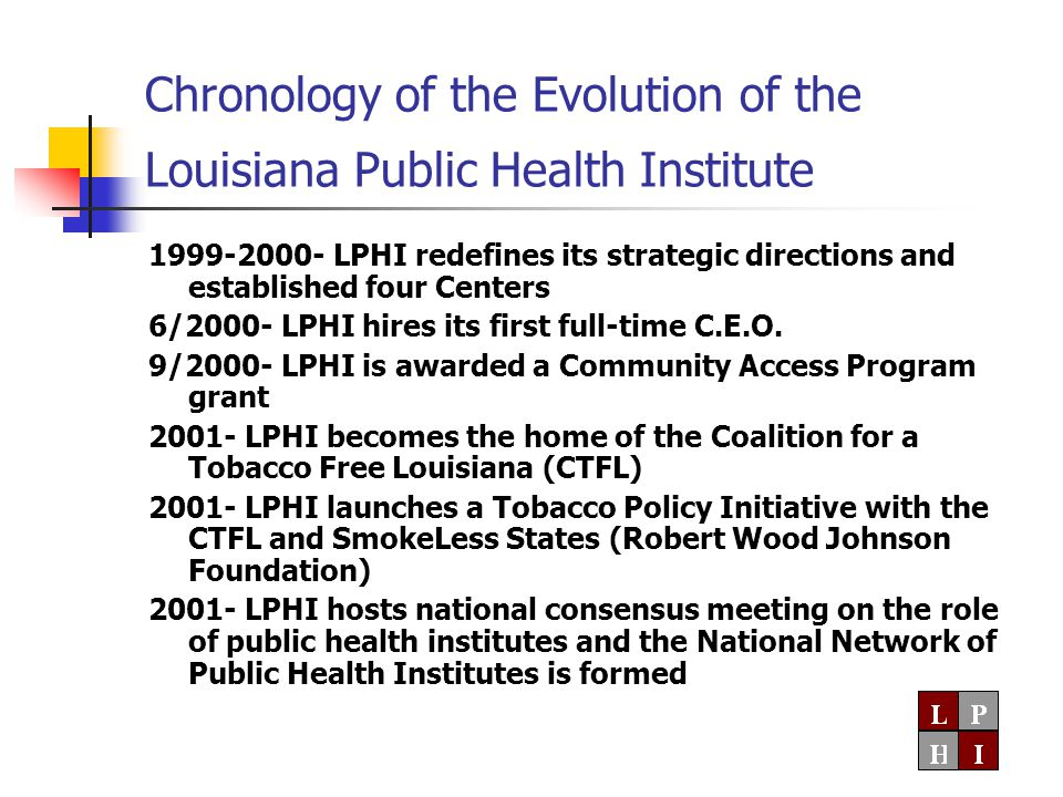 Chronology of the Evolution of the Louisiana Public Health Institute 1999-2000- LPHI redefines its strategic directions and established four Centers 6/2000- LPHI hires its first full-time C.E.O.