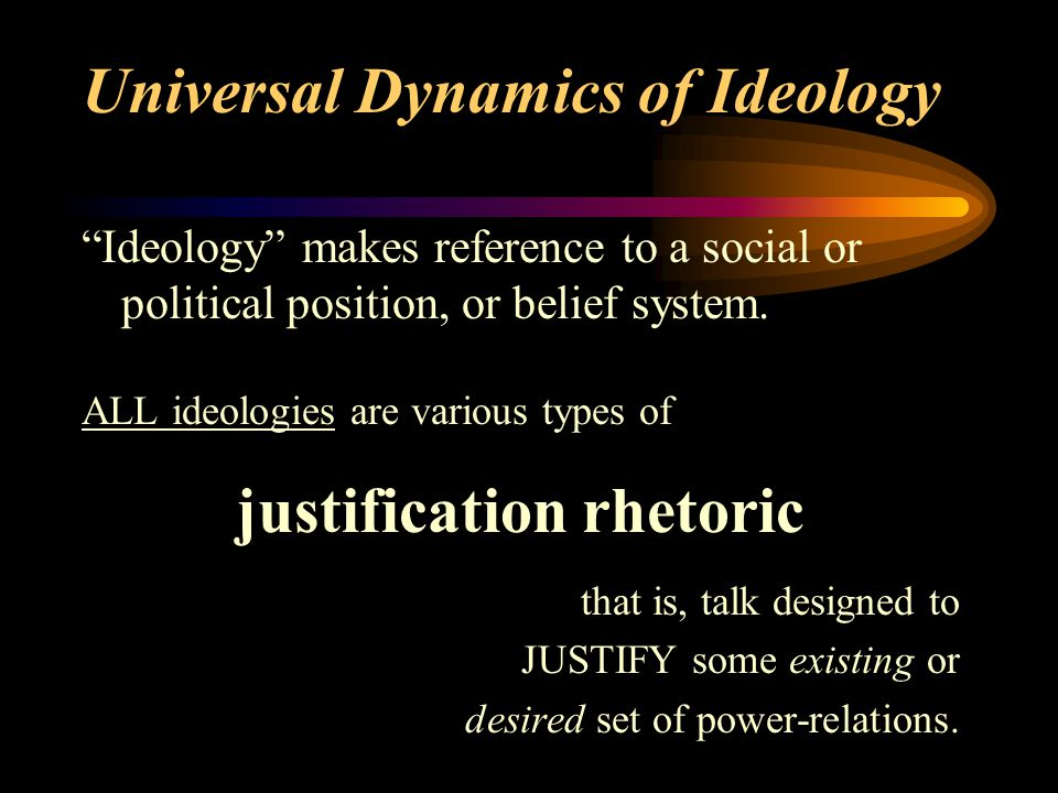 Universal Dynamics of Ideology Ideology makes reference to a social or political position, or belief system.