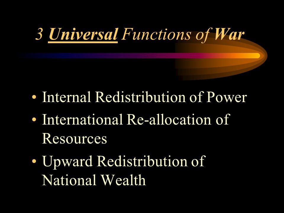 3 Universal Functions of War Internal Redistribution of Power International Re-allocation of Resources Upward Redistribution of National Wealth