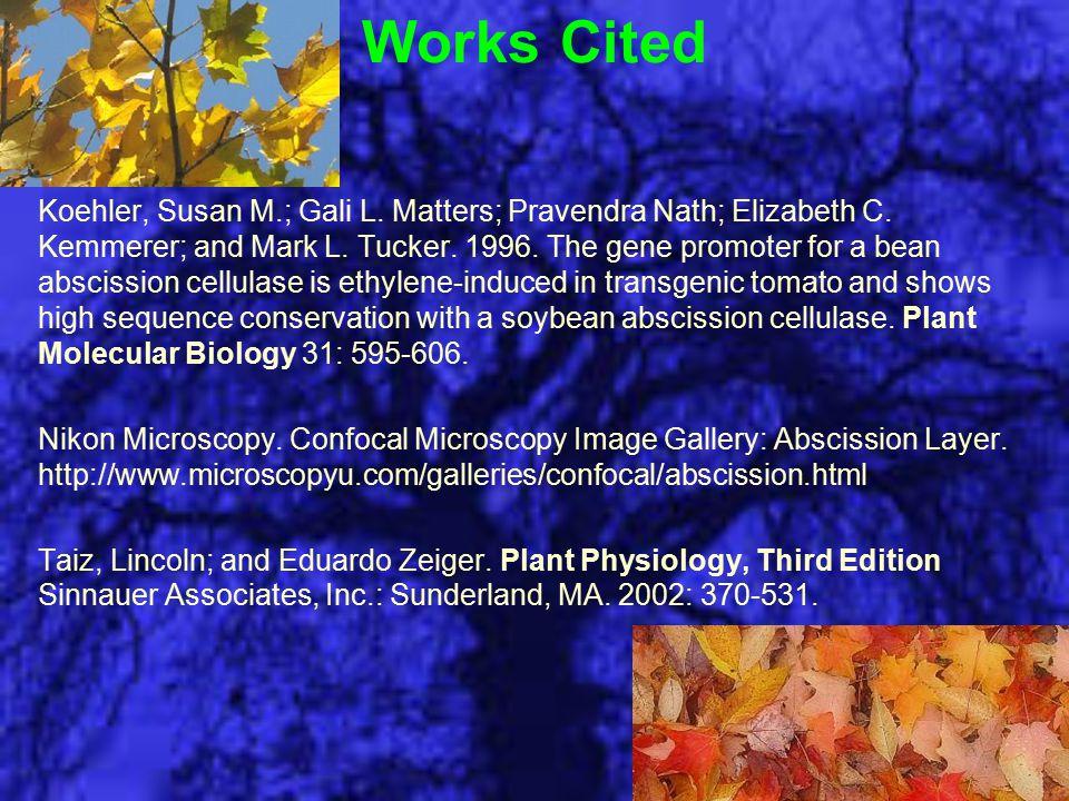 Works Cited Koehler, Susan M.; Gali L. Matters; Pravendra Nath; Elizabeth C.
