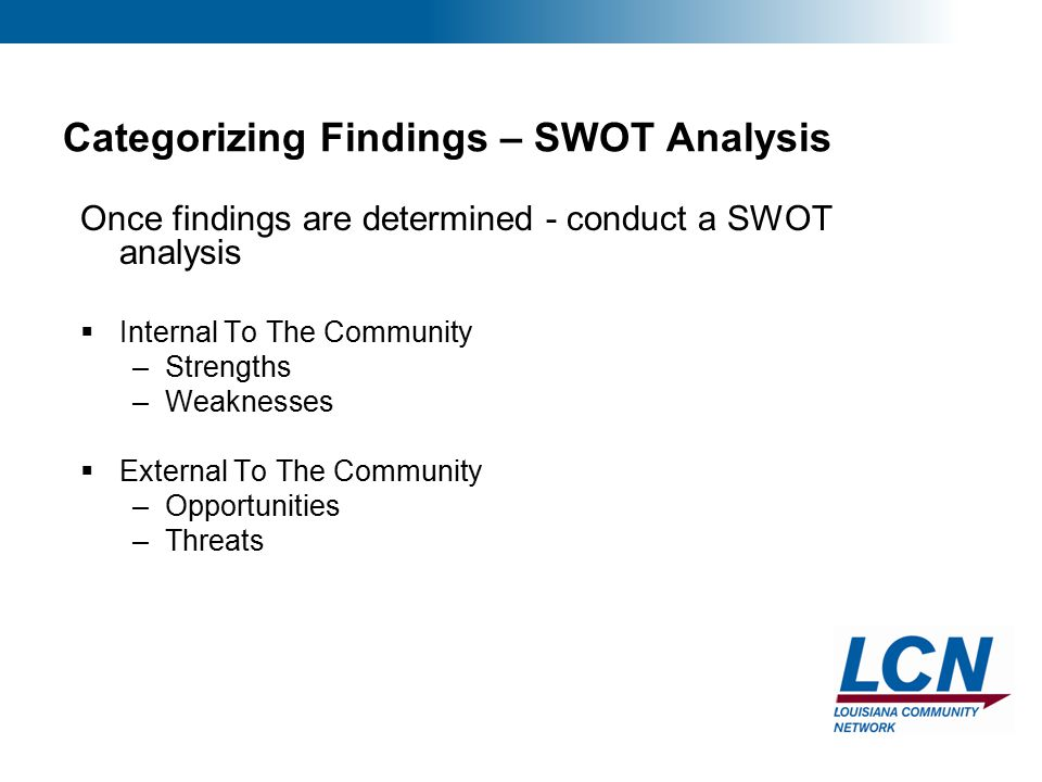 18 Categorizing Findings – SWOT Analysis Once findings are determined - conduct a SWOT analysis  Internal To The Community –Strengths –Weaknesses  External To The Community –Opportunities –Threats