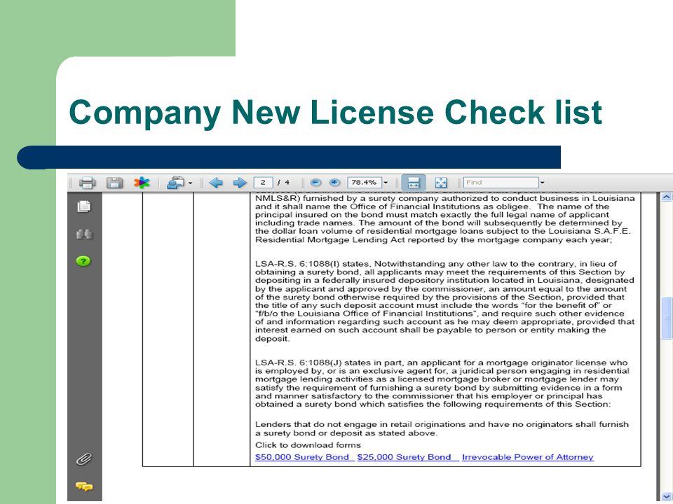 Company New License Check list