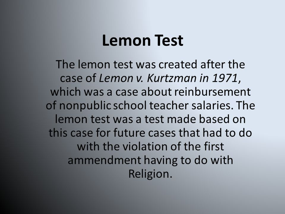 Quiz 6. True or False. The act passed the Lemon test. A.True B.False-