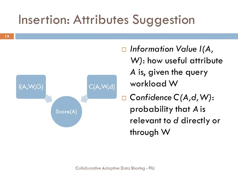 Insertion: Attributes Suggestion Score(A) I(A,W,G)C(A,W,d)  Information Value I(A, W): how useful attribute A is, given the query workload W  Confidence C(A,d,W): probability that A is relevant to d directly or through W 13 Collaborative Adaptive Data Sharing - FIU