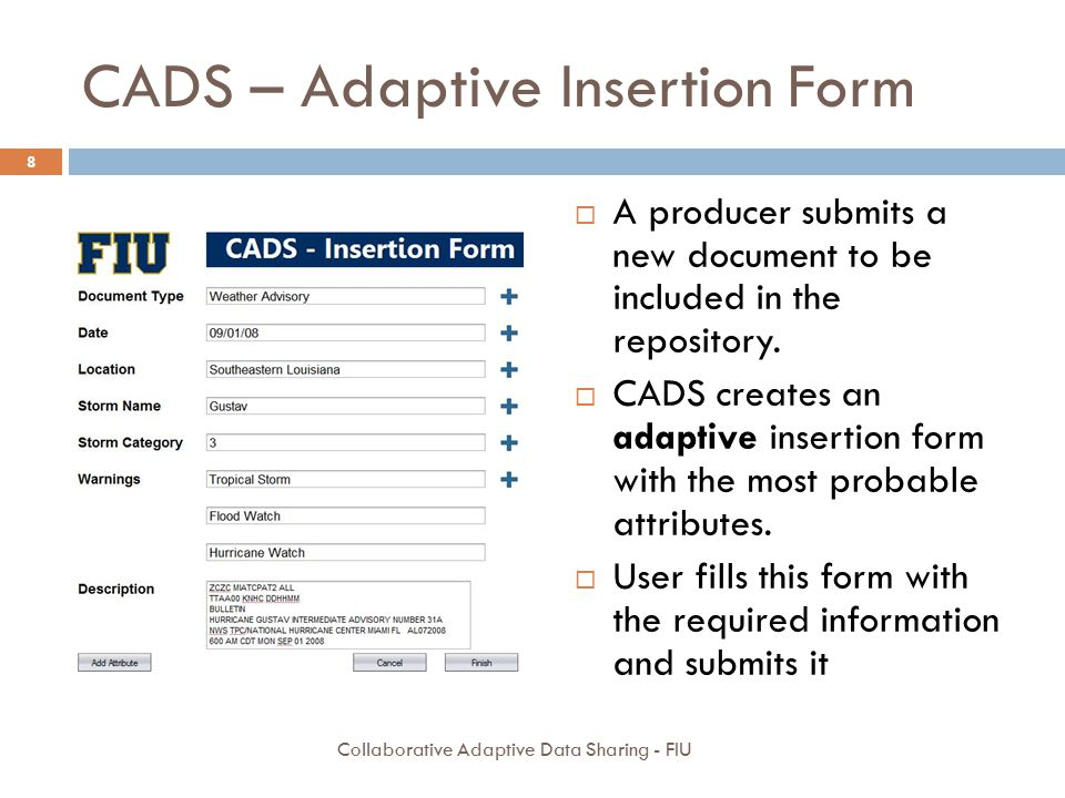 CADS – Adaptive Insertion Form  A producer submits a new document to be included in the repository.