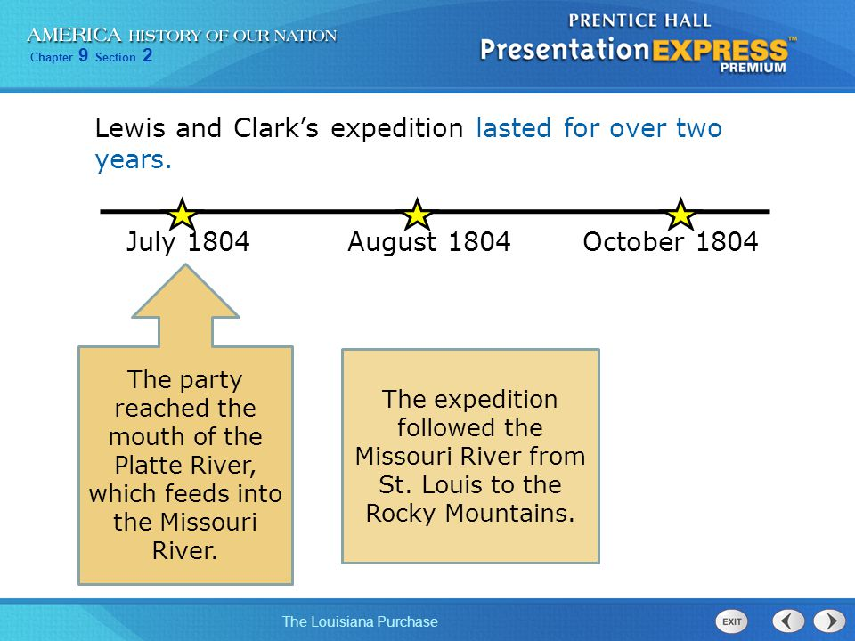 Chapter 9 Section 2 The Louisiana Purchase Lewis and Clark's expedition lasted for over two years. July 1804August 1804October 1804 The party reached
