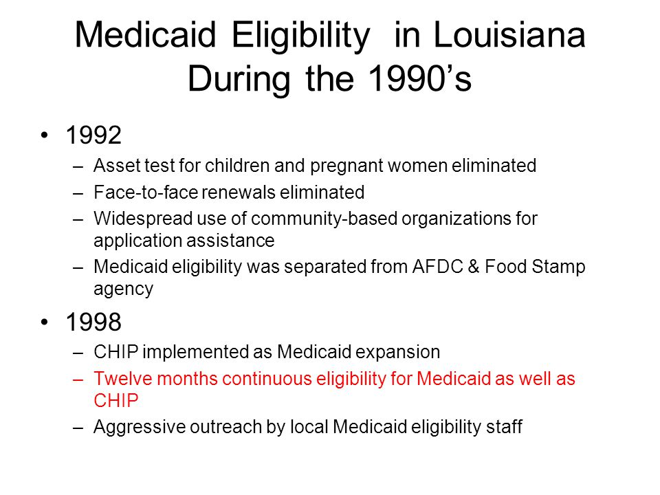 Medicaid Eligibility in Louisiana During the 1990's 1992 –Asset test for children and pregnant women eliminated –Face-to-face renewals eliminated –Widespread use of community-based organizations for application assistance –Medicaid eligibility was separated from AFDC & Food Stamp agency 1998 –CHIP implemented as Medicaid expansion –Twelve months continuous eligibility for Medicaid as well as CHIP –Aggressive outreach by local Medicaid eligibility staff